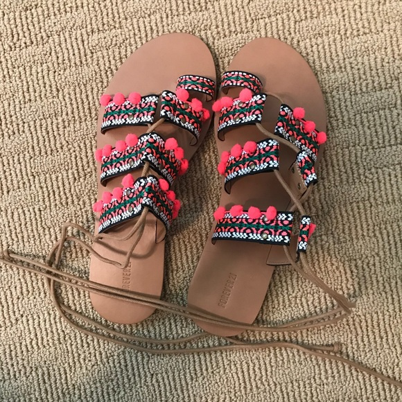 a0c26ac2839 Pink Pom Pom Embroidered Forever 21 Sandals